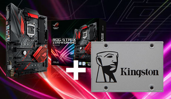Asus emolevy + Kingston SSD-levy tuotepaketti